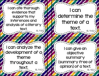9th and 10th Grade ELA I Can Statements for CCSS Standards (Jewel Tone Stripes)