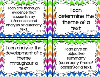 9th and 10th Grade ELA I Can Statements for CCSS Standards (Rainbow Chevron)