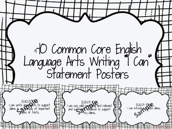 9th and 10th Grade English Language Arts I Can Statement Posters