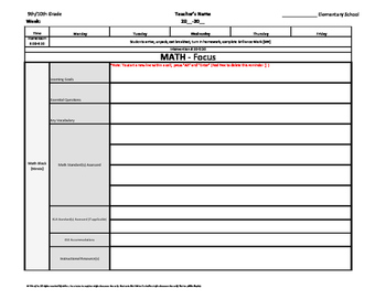 9th and/or 10th Grade Common Core Weekly Lesson Plan Template w/ Drop Down Lists