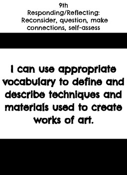 "9th grade: Visual Art- ""I Can"" Statements"