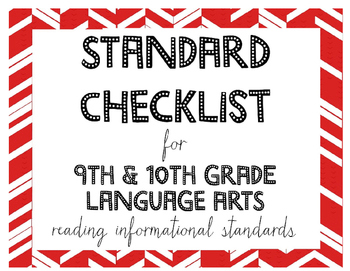 9th or 10th Grade Language Arts Standards Checklist for Reading Informational