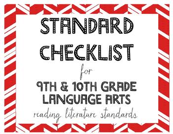 9th or 10th Grade Language Arts Standards Checklist for Reading Literature