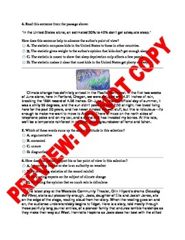 9th/10th Grade CCSS Author's Purpose Assessment