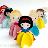 9x 3d Princess Paper Dolls/ Christmas Ornaments