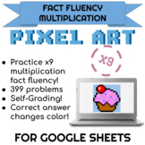 9x Multiplication Pixel Art! Digital Practice for Math Facts with Secret Reveal!