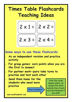 9x Times Table Flashcards