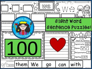 A+ 100 Sight Word Sentence Puzzles...Building Sentences, Handwriting + Addition