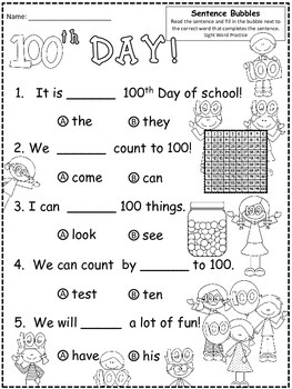 A+ 100th Day Of School: Fill In the Blank.Multiple Choice Sight Word Sentences