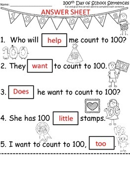A+ 100th Day of School Sentences: Fill In The Blank