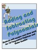 A.10A Polynomials (Add and Subtract) Coloring Activity