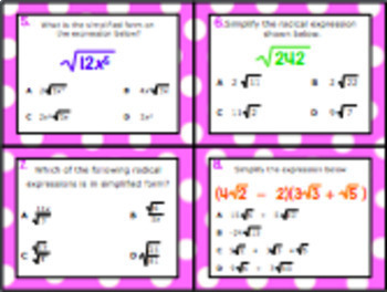 A.11A: Simplify Numerical Radical Expressions STAAR EOC Test Prep Task Cards!