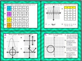 A.12A: Defining a Function STAAR EOC Test-Prep Task Cards! (Algebra 1)