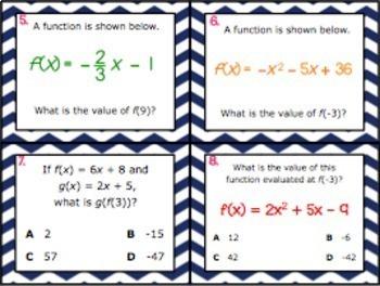 A.12B: Evaluate Functions STAAR EOC Test-Prep Task Cards! (Algebra 1)