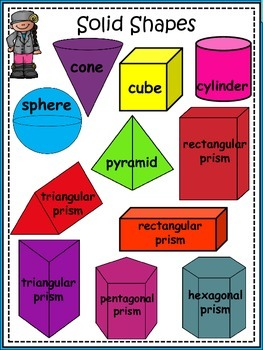 A+ 2-D and 3-D Math Shapes (Plane and Solid Shapes) Posters and Coloring Sheets