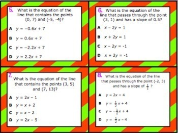 A.2B: Writing Linear Equations (Point & Slope) STAAR EOC Test-Prep Task Cards!
