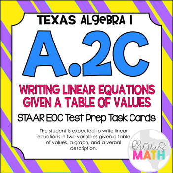 A.2C: Writing Linear Equations STAAR EOC Test-Prep Task Ca