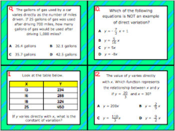 A.2D: Direct Variation STAAR EOC Test-Prep Task Cards (Algebra 1)