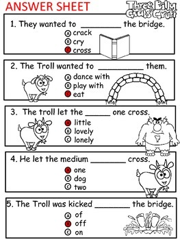 A+ 3 Billy Goats Gruff Comprehension:Differentiated Instruction..Guided Reading