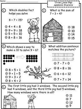 A+  3 Little Pigs: Addition Practice