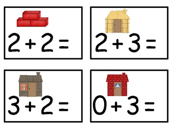 A+  3 Little Pigs Addition & Subtraction Fluency Practice Cards # 0-5