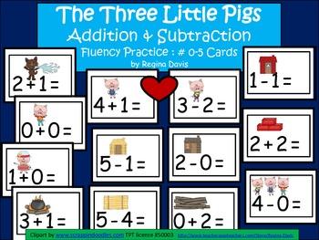 A+  3 Little Pigs Addition & Subtraction Fluency Practice