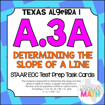 A.3A: Determining the Slope of a Line STAAR EOC Test-Prep Task Cards!