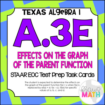 A.3E: Effects on the Parent Function STAAR EOC Test-Prep Task Cards! (Algebra 1)