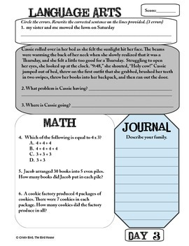 A 4th Grade Morning Workbook - Bell Work for Language Arts and Math Common Core