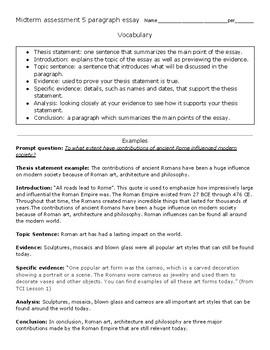 A 5 paragraph essay for 8th grade social studies