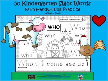 A+ 50 Kindergarten Sight Words: Farm Theme Handwriting Practice