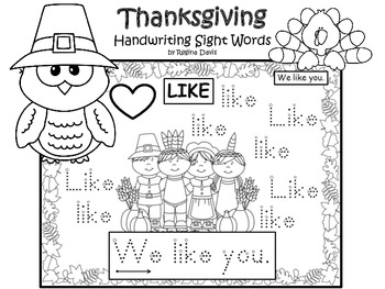 A+ 50 Kindergarten Sight Words For Thanksgiving Handwriting Practice