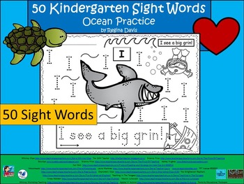 A+ 50 Kindergarten Sight Words: Ocean Theme Handwriting Practice