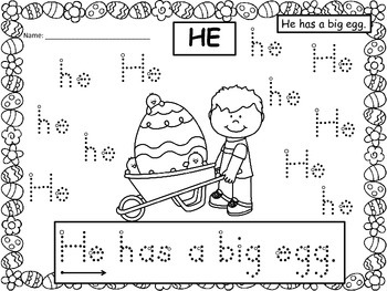 A+ 50 Kindergarten Sight Words: Spring Bunnies & Eggs Handwriting Practice