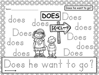 A+ 50 Kindergarten Sight Words: Summer Theme Handwriting Practice