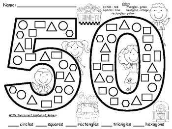 A+ 50th Day of School: Math Shapes