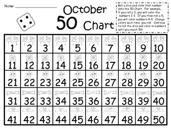 A+ 5oth Day of School: 1-50 Chart...Counting to 50 In October