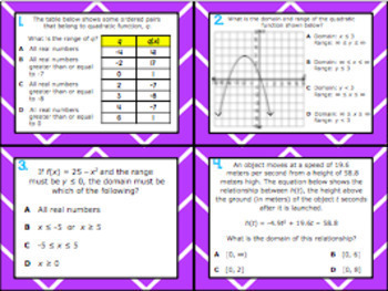 A.6A: Domain & Range of Quadratic Functions STAAR EOC Test Prep Task Cards!