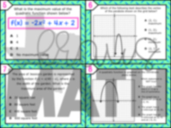 A.7A: Graphing Quadratic Functions STAAR EOC Test-Prep Task Cards! (Algebra 1)