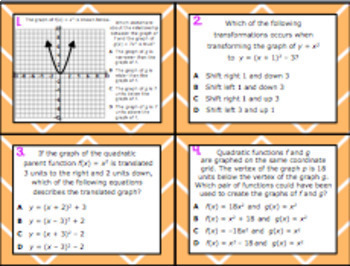 A.7C: Effects on the Parent Function STAAR EOC Test Prep Task Cards!