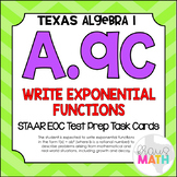 A.9C: Writing Exponential Functions STAAR EOC Test Prep Task Cards (Algebra 1)