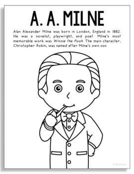 A.A. Milne, Famous Author Informational Text Coloring Page Craft, Library  Art
