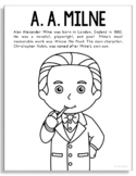 A.A. Milne, Famous Author Informational Text Coloring Page
