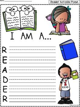 A+ Acrostic Poem: I Am A...READER