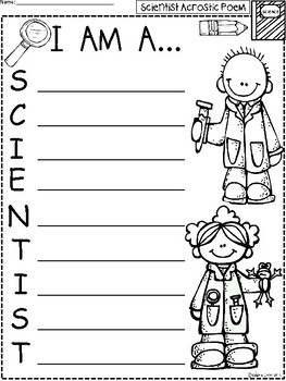 A+ Acrostic Poem: I Am A...SCIENTIST