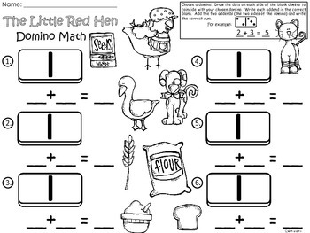 A+ Addition Little Red Hen: Domino Math