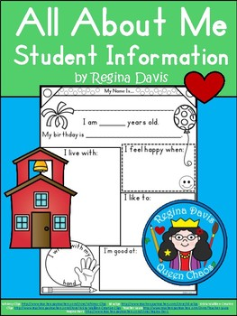 A+ All About Me: Student Information Writing