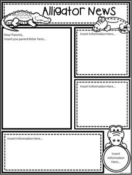 A+ Alligator or Gator *EDITABLE* Papers...Teacher News & Notes To Parents