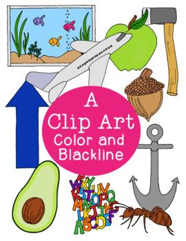 A Alphabet Clip Art PNG JPG Color and Blackline, Avocado Aquarium