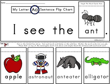 A+ Alphabet Flip Charts: Beginning Sounds...26 Letters Color and Black & White